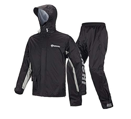 Took09 Raincoat Rainpants Suit Adult Split Raincoat Motorcycle Riding Water-proof Ultrathin Male Outdoor Hiking Raincoat (Black suit L)