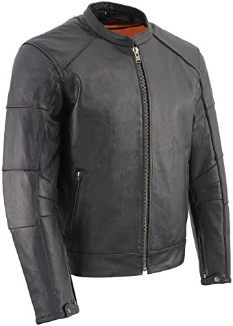 Men`s Milwaukee Leather Super-Clean Sport Style Biker Jacket W Reflective Piping