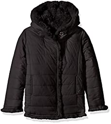 GUESS Big Girls\' Reversible Eco Fur and Nylon Quilted Jacket, Noir/Jet Black a, 12