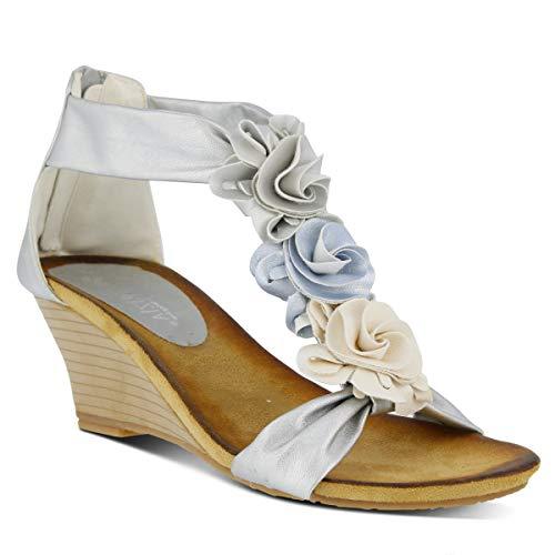 PATRIZIA Women's Harlequin Wedge Sandal Silver (Fabric Footwear Silver)