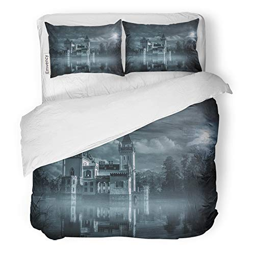 Emvency 3 Piece Duvet Cover Set Brushed Microfiber Fabric Breathable Dark Mystic Water Castle in Moonlight Haunted Gothic Bedding Set with 2 Pillow Covers King Size