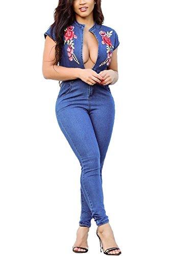 Leezeshaw Women Deep V Neck Denim with Embroidered Short Sleeve Jumpsuit Romper ()