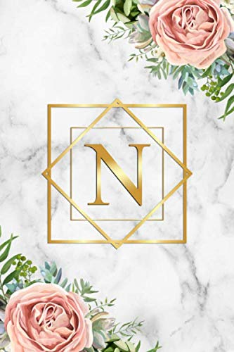 N: Tropical Floral Initial Monogram Letter N Blank Dot Grid Bullet Notebook for Writing & Notes – Pretty Marble & Gold…