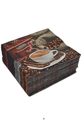 60 PCS Large Lunch Dinner Cafe Coffee Beans Cocktail Napkins (3 Package of ()
