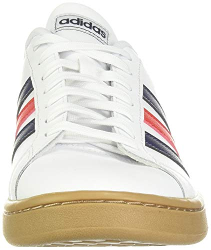 adidas mens Grand Court Tennis Shoe, White/Trace Blue/Active Red, 7 US