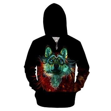 Ai Ya-weiyi Winter Wolf Zip Sudaderas Hombres 3D Zipper Hoody ...