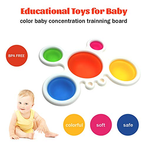 Simple Dimple Fidget Popper Toy,Baby Simple Sensory Toys,Silicone Flipping Crab Board Toddler Early Educational Grasp Fidget Toy,Baby Teething Toy