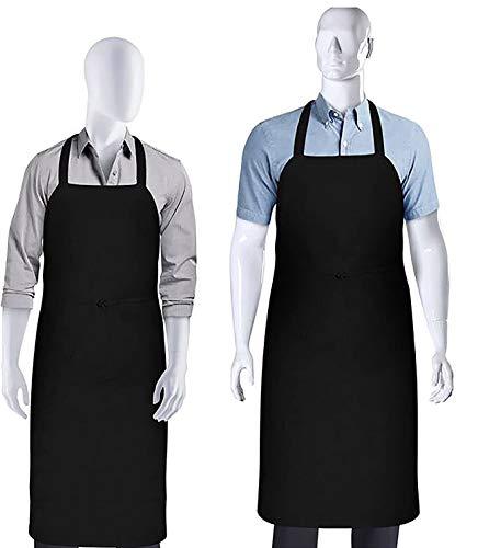 2-Set Black Professional Bib Apron – Unisex, Premium Quality, Comfortable, Machine Washable Kitchen Chef Aprons by…
