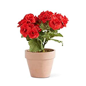 "Floral Home Artificial Clay Pot of Red Begonias - 11"" Tall 102"