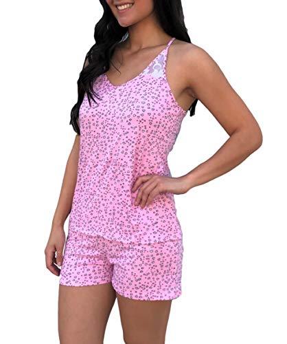 Womens Super Soft Pajama Cami & Shorts Set in Cute Prints, Pink Hearts, M ()