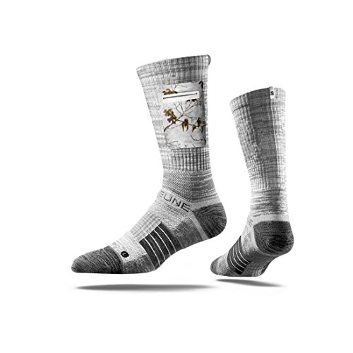 Strideline Realtree Premium Hunting Pocket Crew Socks, Grey with Edgesnow Camo