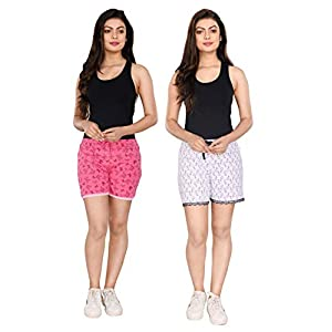 StyleAone Women's Cotton Printed Shorts – Pack of 2