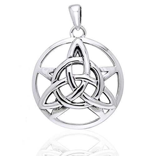 (Druids Amulet - Triquetra Knot and Pentacle Sterling Silver Pendant)