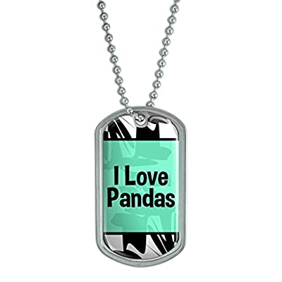 Graphics And More Dog Tag Pendant Necklace Chain I Love Heart Animals P-S - Jewelry