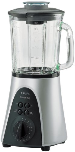 Krups Blender Power XL6 F344, Vidrio, Plata/Negro, 600 MB/s