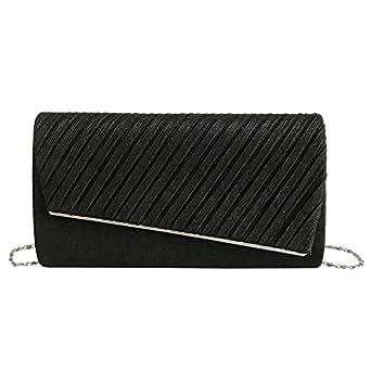 TOOGOO New Stripe Hand Small Square Bag Korean Version Of the Chain Sling Shoulder Bag Evening Bag Black