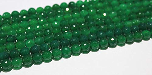- Gems-World Jewelry Green Onyx Faceted Round/Ball Shaped Faceted Gemstone Beads with Size 8 mm - 15