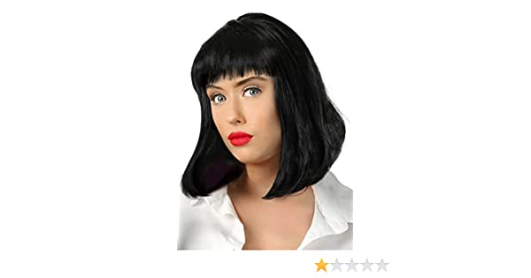 Amazon.com: Fun Costumes Adult Pulp Fiction Mia Wallace Black Movie Wig Standard: Clothing