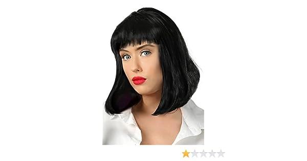 Amazon.com: Fun Costumes Adult Pulp Fiction Mia Wallace Black Movie Wig Standard: Clothing
