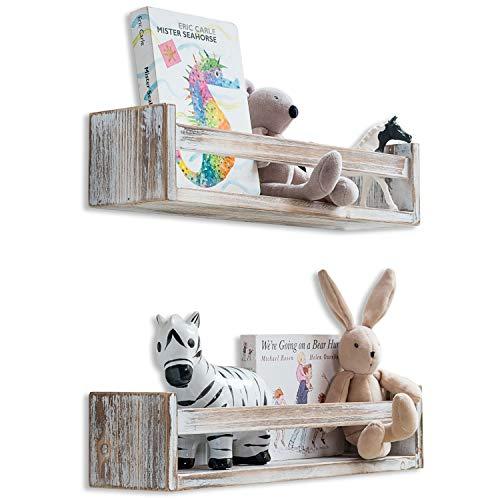 MAINEVENT Set of 2 Rustic Wood Floating Nursery Shelves - Wall Shelves for Farmhouse Bathroom Decor, Kitchen Spice Rack, or Book Shelf Organizer for Baby Nursery Decor