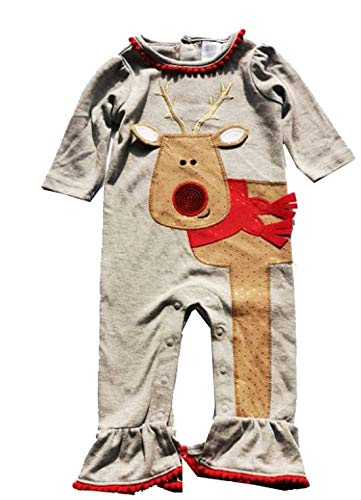 Newborn Infant Baby Girl Christmas Rompers Striple Reindeer Jumpsuit Outfit (Gray, 3Month)]()