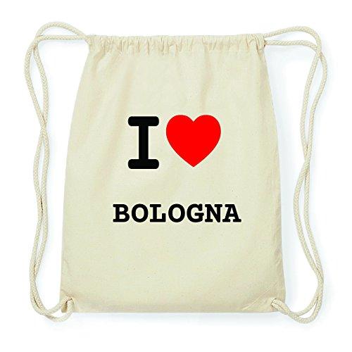 JOllify BOLOGNA Hipster Turnbeutel Tasche Rucksack aus Baumwolle - Farbe: natur Design: I love- Ich liebe