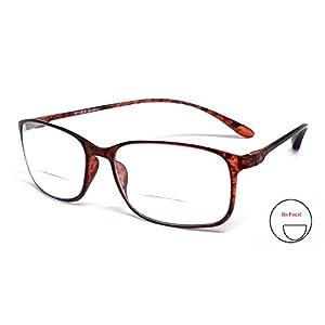 Calabria Reading Glasses - 720CB Clear Bi-Focal Flexie in Tortoise +1.75