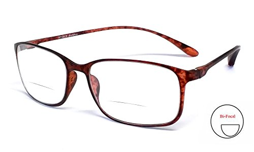 Calabria Reading Glasses - 720CB Clear Bi-Focal Flexie in Tortoise - Bifocal Glasses Reading 1.25
