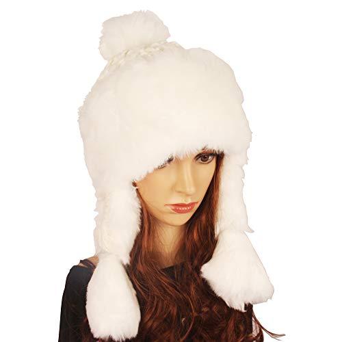 Winter Faux Fur Women Winter Hat with Ear Flap Pom pom Knitted Trapper Russian Aviator Trooper Hat Winter Snow Girls Hat (White) -