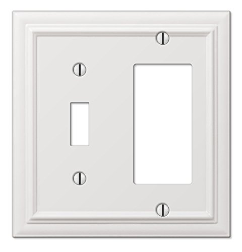 (Amerelle Continental Single Toggle/Single Rocker Cast Metal Wallplate in White )