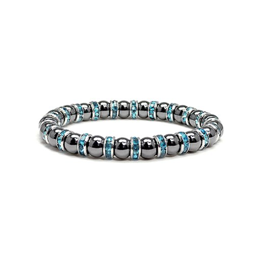 Accents Kingdom Women's Magnetic Hematite Tuchi Simulated Pearl Bracelet with Simulated Aquamarine Crystal, 7.5