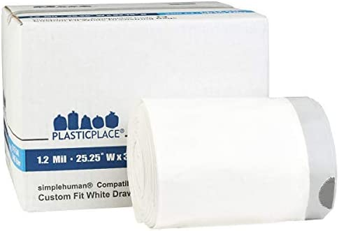 Plasticplace Custom Fit Trash Bags simplehuman (x) Code Q Compatible (200 Count) White Drawstring Garbage Liners 13-17 Gallon