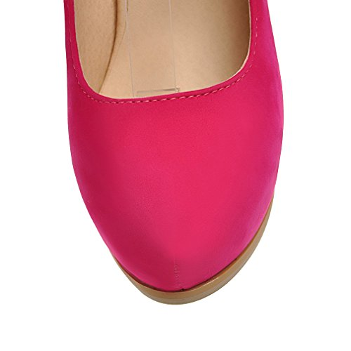 Enmayer Mujer Nubuck Princess Simple Buckled Up Spike Tacones Bombas Peach Red