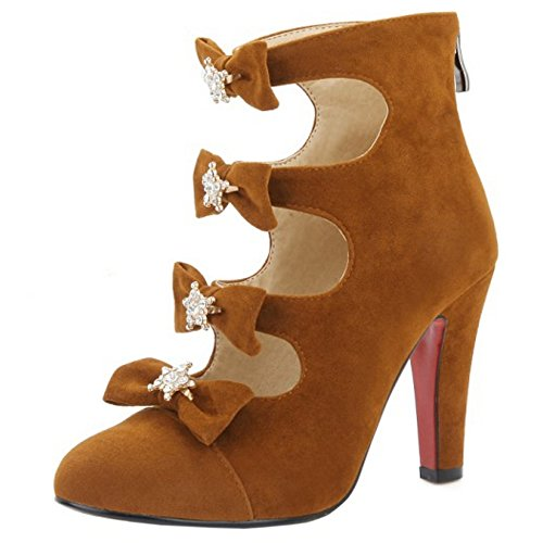 TAOFFEN Women Fashion High Heel Pumps Shoes Bow Ankle Boots With Zipper Brown DGkPLLR