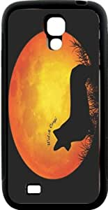 Rikki KnightTM Welsh Corgi Dog Silhouette By Moon Design Samsung? Galaxy S4 Case Cover (Black Hard Rubber TPU with Bumper Protection) for Samsung Galaxy S4 i9500