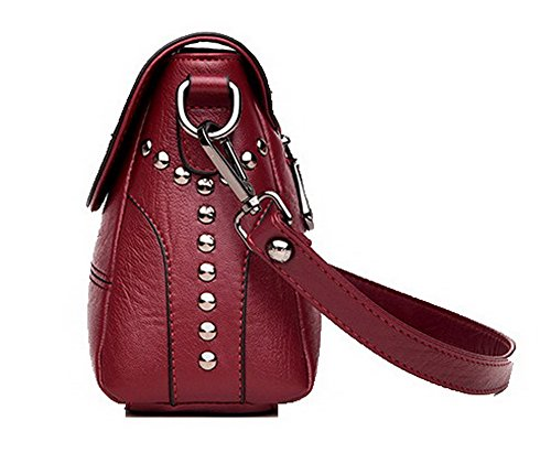à Vineux Femme Des CCAFBP180918 Décontractée Mode Rouge bandoulière Pu Clouté sacs Sacs VogueZone009 Cuir OxzwREz