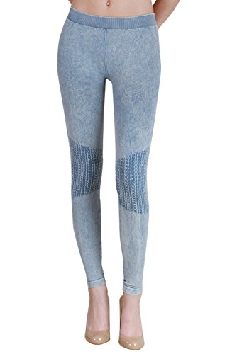 Denim Vintage Leggings (Nikibiki Womens Seamless Vintage Knee Shirring Leggings One Size Vintage Denim Blue)