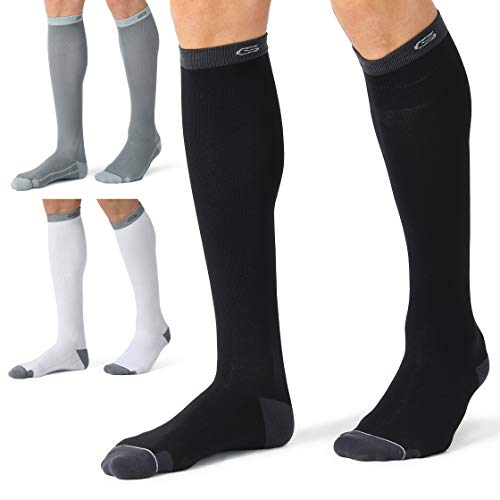 CELERSPORT 3 Pairs Compression Socks 20-30mmHg for Men and Women Nursing Socks (Black, White&grey, Small/Medium)