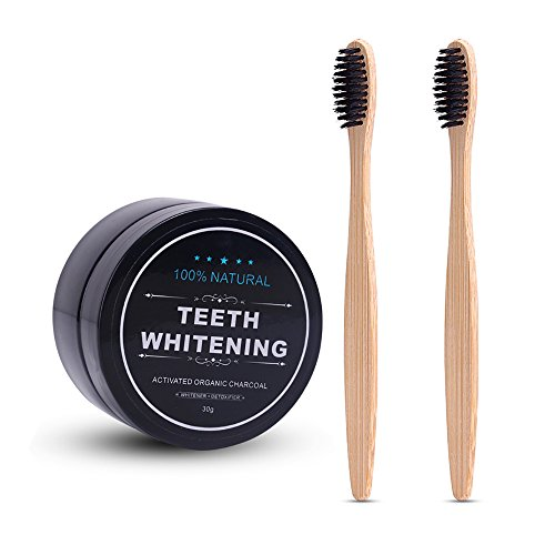 AZDENT Activated Teeth Whitening Charcoal Powder Toothpaste Natural Teeth Whitener with 2 Pcs Bamboo Toothbrush for Adults