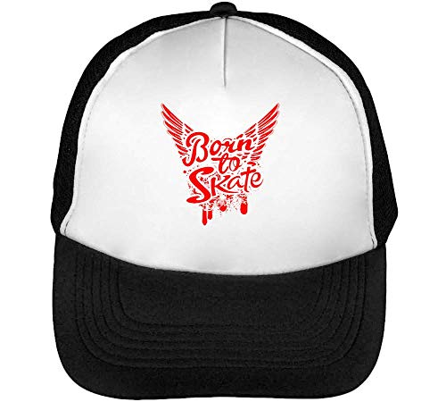 Born To Skate Wings Fashioned Gorras Hombre Snapback Beisbol Negro Blanco