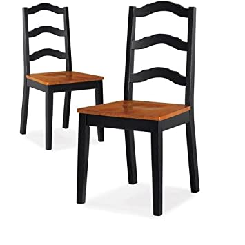 Better Homes and Gardens Autumn Lane Ladder Back Dining Chairs, Set of 2, Black