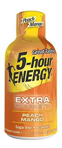 5 Hour Energy Extra Strength Drink Shot, Peach/Mango, 4 Count by 5 Hour Energy from 5 Hour Energy