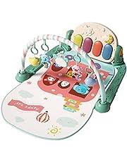 Baby lekfilt, baby fitnessmatta med musik och ljus, kick pianoleksak matta med 5 hängande leksaker, baby färgigenkänning och djurigenkänning, pedagogisk leksak från 0 månader