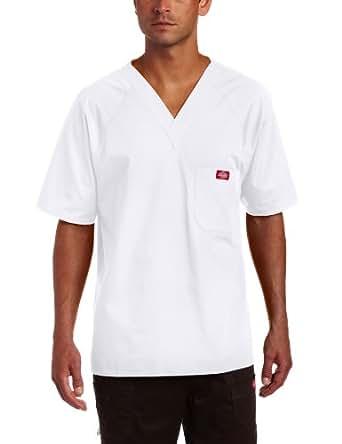 Dickies Men's Raglan Sleeve Solid Scrub Top,White,X-Large