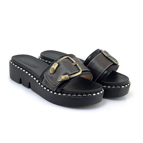 Qin Black Women's nbsp;flip Flop Heel nbsp; Sandals amp;x Chunky Casual f1Ccwq4Ufx