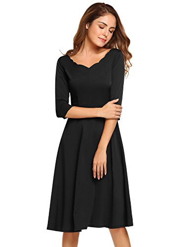 HOTOUCH Women's Plus Size 1950s Swing Dress Below The Knee Dresses (Black XL)