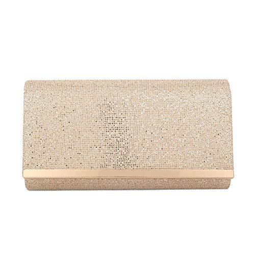 Metallic Diva Clutch Trim Coffee Haute Bag for Champagne Glitter Ladies SAwtZ55fqx