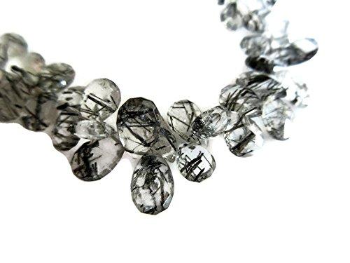 (8 Inch Strand, 68 Pcs, Black Rutilated Quartz Pear Briolette Beads, 10-7mm Each, SKU-Rq4)