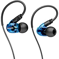 ROCUSO Earbud Headphones with Microphone, Over Ear Waterproof Earbuds Stereo Bass Musician In Ear Monitor, Sweatproof Sport Earphones for Running, Gym, Workout, for Iphone, Samsung, Android,Blue