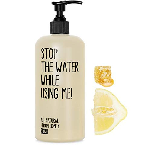 STOP THE WATER WHILE USING ME! All Natural Liquid Hand & Body Soap: Lemon + Honey Moisturizing Hand Soap with Organic Olive Oil and Acacia Honey, Paraben & Cruelty Free, 7oz